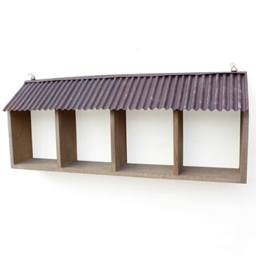 azi-azi(アジアジ) 4BOX ルーフコレクションフレーム AZ-732 ミニチュアやミニカゴなど小物のディスプレイに最適 ナチュラル雑貨/ラック/シェルフ/棚/収納用品/壁掛け/ウォールデコ