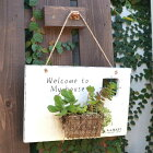 ケットサイン多肉植物にピッタリのポケットを加えたウェルカムサイン2カラー木/看板/ガーデン/ハンドメイド/アンティーク仕上げ/ナチュラル雑貨