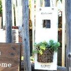 ワンポケットサイン2カラー多肉植物にピッタリのポケットを加えたウェルカムサイン木/看板/ガーデン/ハンドメイド/アンティーク仕上げ/ナチュラル雑貨