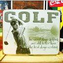 ブリキ看板 ゴルフをする一番の日 アメリカ雑貨/アメ雑貨/ガレージ/インテリア/レトロ/ブリキプレート