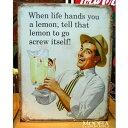 ブリキ看板レモンを貰ったらレモンジュースアメリカ雑貨/アメ雑貨/ガレージ/インテリア/レトロ/ブリキプレート