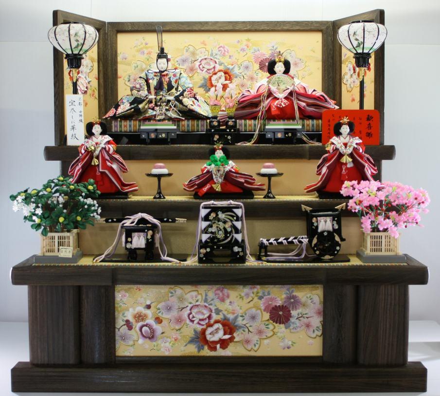 120歓喜雛正絹5人 (焼き桐3段飾り) 【雛人形三段飾り】