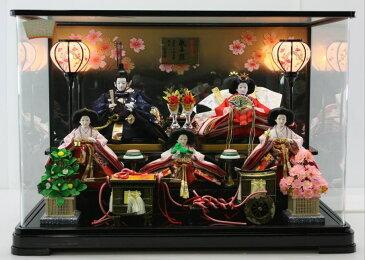雛人形大三五5人金彩刺繍親王パノラマケース黒 パノラマケース飾り 【雛人形ケース飾り】 【smtb-k】【w3】