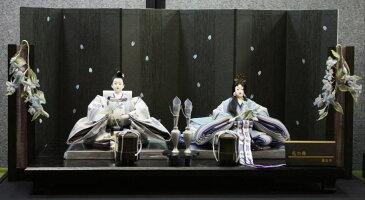 アート&デザイン後藤由香子作 花の舞ブルー 創作雛人形平飾り 【雛人形親王飾り】