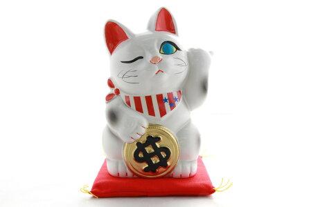 4号招き猫ドル猫白左手