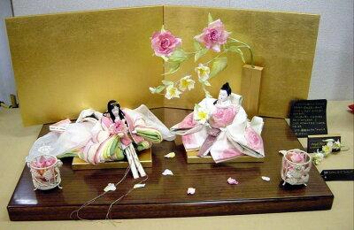 アート&デザイン後藤由香子作ロイヤルローズウェディング創作雛人形平飾り【雛人形親王飾り】