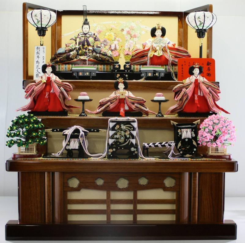 100歓喜雛正絹帯地5人飾り (塗り桐3段飾り) 【雛人形三段飾り】