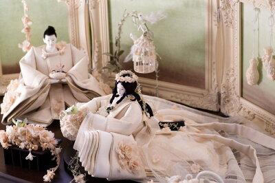 後藤由香子作森のウェディング創作雛人形平飾り【雛人形親王飾り】