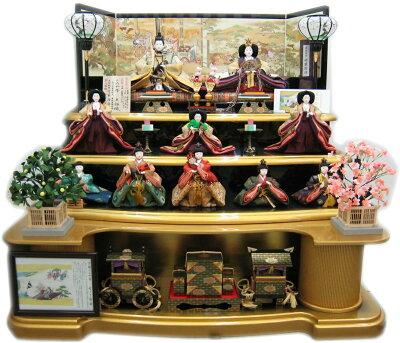 平安天鳳作雛人形名宝絵巻竹取物語帯使用(10人3段飾り)