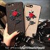 【花刺繍柄】iPhoneX|iPhone7/iPhone8|iPhone7Plus/iPhone8Plus花刺しゅう柄ストラップ付きソフトケース|TPUかわいいデザインレッド送料無料