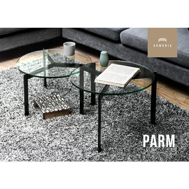テーブル センターテーブル ガラステーブル 丸テーブル セパレート ガラス 分割 円型 ナイトテーブル サイドテーブル インテリア 家具 北欧 モダン PARMの写真