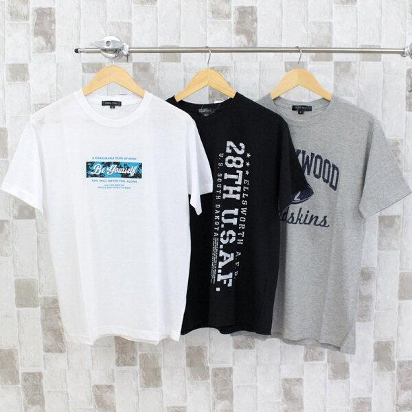 Tシャツメンズ半袖カレッジロゴプリントクルーネックティーシャツ大きいサイズトップスアメカジロゴT綿ブラックホワイト通販 おしゃれ