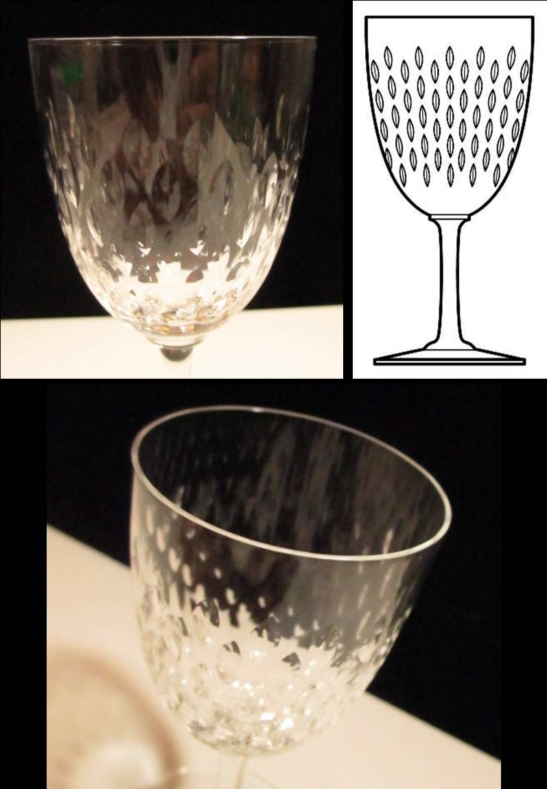 木の葉状のリーフカットが素敵な白ワインサイズのワイングラス
