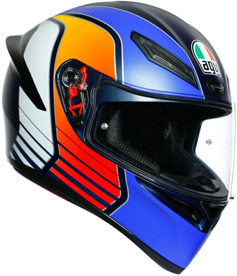 AGV(エージーブイ) バイク用ヘルメット フルフェイス K1 POWER MATT DARK BLUE/ORANGE/WH (パワーマットダーク ブルー/オレンジ/ホワイト) XLサイズ (61-62cm) 028192IY008-XL画像