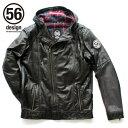 56デザイン 56designライダースジャケット ライディングウェア S-LINE LEATHER PARKA メンズ レディース バイク アウター レザー ライディング パーカー バイカー ライダー メンズ ファッション