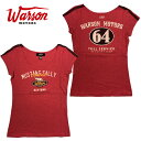 【ワーソンモータース/Warson Motors】マスタング サリー64 Tシャツ レディース 半袖 Tシャツ ラウンドネック フレンチスリーブ MUSTANG SALLY 64 RED WOMEN【メール便可】