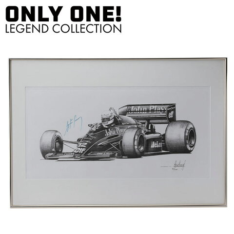 【ONLY ONE LEGEND COLLECTION】ロータス ルノー 98T アイルトン・セナ 直筆サイン入り 鉛筆画 Ayrton Senna signed Pencil drawing LOTUS 98T by Alan Stammers