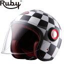 <お取り寄せ> 【ルビー/Ruby】ベルベデーレ ヴィクトワール BELVEDERE VICTOIRES バイク ヘルメット ジェットタイプ カーボン製 ※納期2か月程度