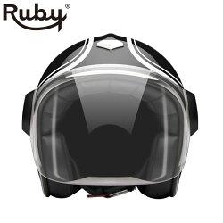 予約/受注生産【ルビー/Ruby】ミュンヘンベルベデーレヘルメットジェットタイプバイクカーボン製※納期2ヶ月程度