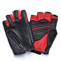 【送料無料】CACAZAN(カカザン)DDR-051 ドライビンググローブ/ブラック甲×レッド掌(バイク 手袋 ドライブ グローブ 指切り 革 メンズ てぶくろ バイクグローブ レザー バイク用グローブ バイクグッズ プレゼント フィンガーレスグローブ 指なし手袋 指なしグローブ)