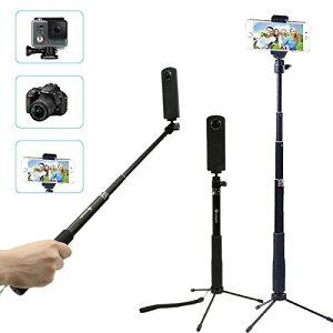 e14a903941 【あす楽】アクションカメラ スマートフォン 対応 4Way自撮り棒 自由伸縮 三脚 セルカ