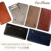 スライドポケットカード入れ手帳型iPhoneケース