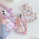 花×大理石 & レトロ調 フラワー iPhone11 ケース