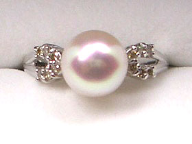 【花珠落ち】貴方だけの1点ものリング-選べる枠&真珠-プラチナ枠&あこや8mm真珠