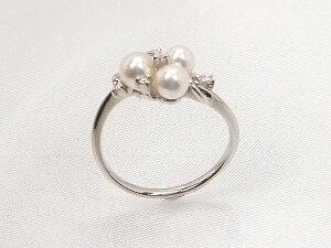 アコヤベビーパールダイヤ入りプラチナリングダイヤモンド0.04ct真珠4.2-4.6mm