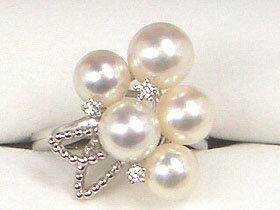 【華やかな上質パーティ真珠リング!!】PTあこや真珠リング6.0~7.0mm