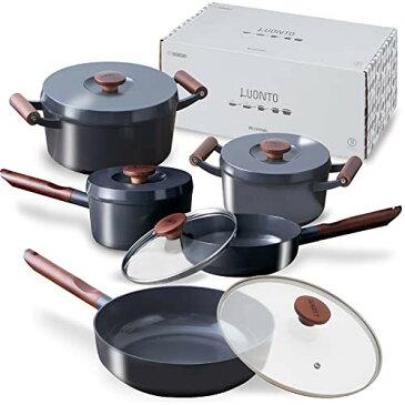 アイリスオーヤマ 深型フライパン 無加水鍋 IH /ガス火対応 「ルオント」 フライパン 鍋 10点 セット ダークグレー LUO-SE10G