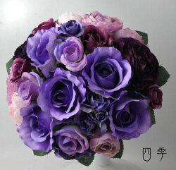 ウェディングブーケ*紫*パープル*9857*ラウンド*花冠*前撮り