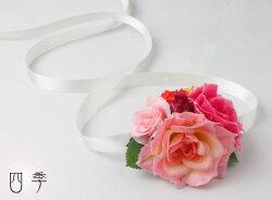 ブーケ*造花*ラウンドブーケ*花冠*7776*ピンク&レッド*ミックス*結婚式♪【送料無料】B_0143