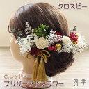 プリザーブドフラワー 髪飾り クロスビー Cレッド ヘッドドレス かすみ草 成人式 卒業式【送料無料】K_0376c