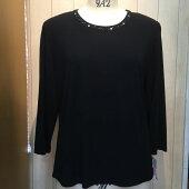 ブラック七分袖Tシャツブラウス