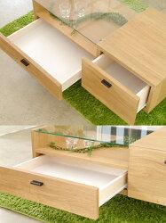 リビングテーブル/木製/コーヒーテーブル/ガラステーブル/90/センターテーブル/完成品/送料無料