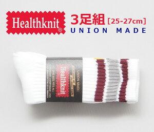 HEALTHKNIT ヘルスニット 3足セット ソックス 3本ライン (191-3108) クルーソックス おしゃれ 靴下 メンズ カジュアル アメカジ ブランド あす楽