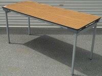 わけありアウトレット(訳あり)折りたたみテーブルLH−1560型天板:チーク色【送料無料】