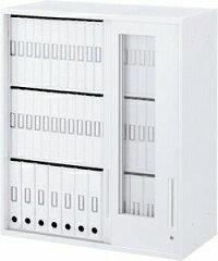 ハイパーストレージHSW800×D450×H1050透明3枚引き違い書庫(上置)