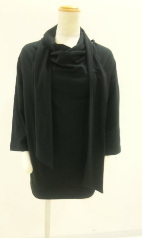 ACID JAZZ MEN サロン系 ストール付 七分袖Tシャツ 黒 M L /ブラック/PUNK系/KERA系/モード系
