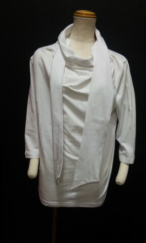 ACID JAZZ MEN サロン系 ストール付 七分袖Tシャツ 白 M L /ホワイト/PUNK系/KERA系/モード系