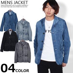 【送料無料】 メンズ デニムジャケット ストレッチデニムイタリアンカラージャケット テーラードジャケット 羽織り 軽アウター mens 紳士「83711」
