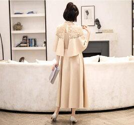 送料無料パーティードレスロング大きいサイズ結婚式ワンピースロング丈袖ありドレスパーティドレスチュール結婚式ドレスお呼ばれドレスフォーマルハイネックレース&刺繍4色