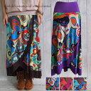 スカート 2wayオリエンタル模様巻きスカート風エスニック アジアン