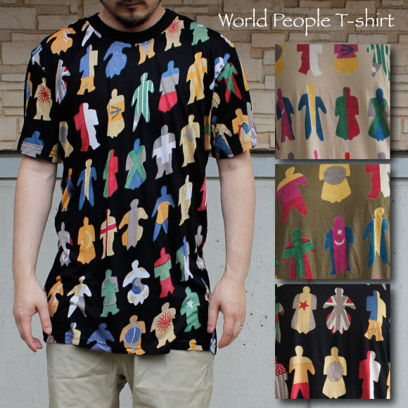 エスニック アジアン国旗モチーフ人型プリントMen'sTシャツ
