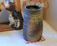 信楽焼 花瓶 窯変 寸胴 おしゃれ 一輪挿し 大きな 花入 北欧 陶器 大型 花びん 花器 フラワーベース 寸胴 投入れ 信楽 信楽焼き やきもの (MR9096-06G)