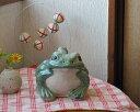 信楽焼 青 カエル 置物 6号 陶器 かわいい かえる 大きい 蛙 おしゃれ グッズ 玄関 雑貨 庭 巨大 ギフト 信楽焼き 焼き物 やきもの (MR9039-25G)
