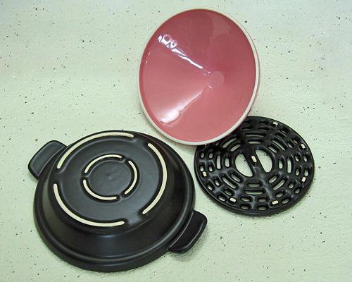万古焼(萬古焼) カラフルタジン鍋 ピンク (ogna)(陶製すのこ、レシピ付) [日本製] 母の日/調理器具/ギフト/陶器/焼き物/やきもの