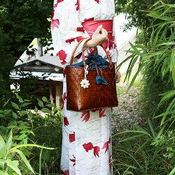 入荷!バンブーキンチャクLサイズストローバッグバンブー竹レディース鞄雑貨ランチバッグエコバッグ手提げ婦人用レジャー夏アジアン水草天然素材