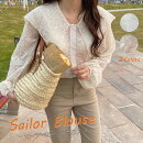 ブラウス刺繍カラーブラウスボリューム袖レディースシースループルオーバートップスシャツシャツブラウスバルーンスリーブ長袖韓国ファッションゆったり体型カバー